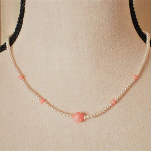 Delicate Faux Pearl and Pink Bead Choker Necklace